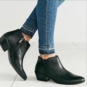 SAM EDELMAN Black Pebbled Leather Petty Ankle Boot